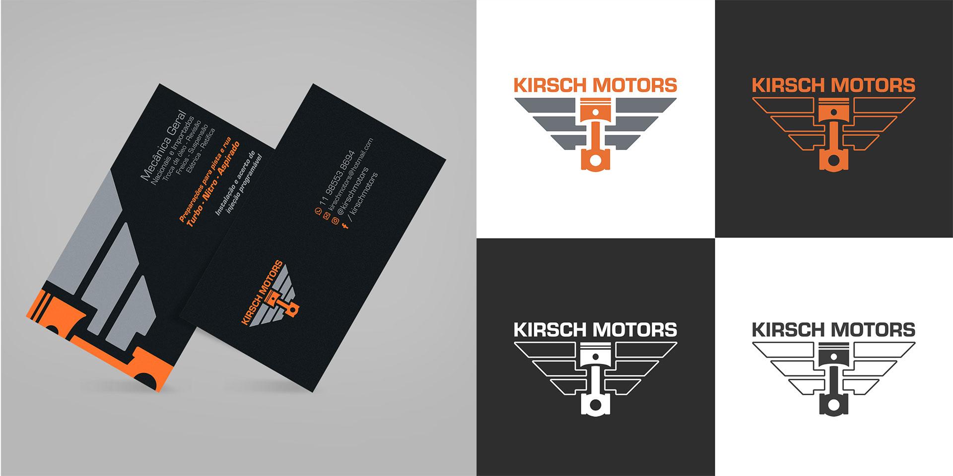 Identidade Visual Logotipo Cartão de Visitas Kirsch Motors